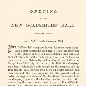 THE OPENING OF THE NEW GOLDSMITHS' HALL IN LONDON