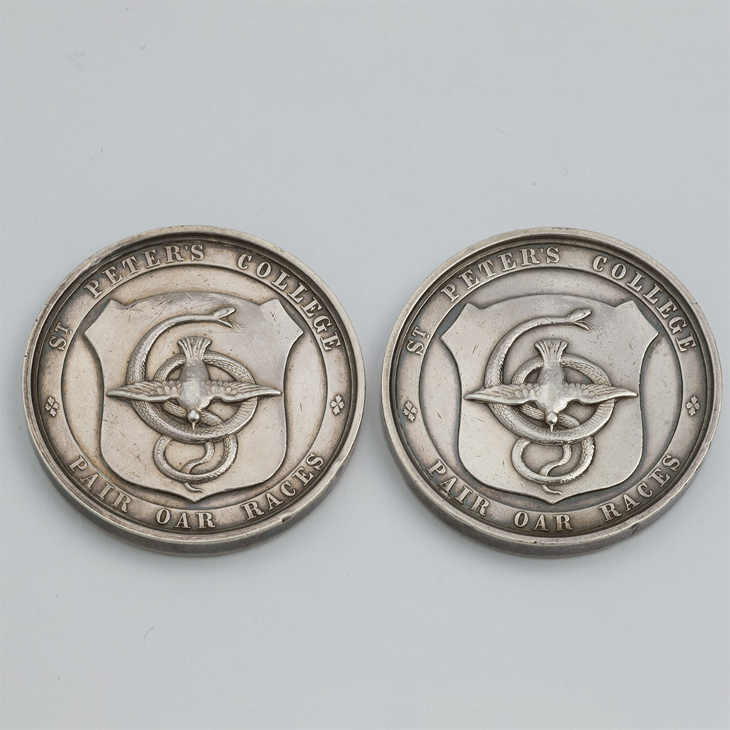 A Pair Of Victorian Unmarked Silver Rowing Prizes From St. Peter's College, Oxford.