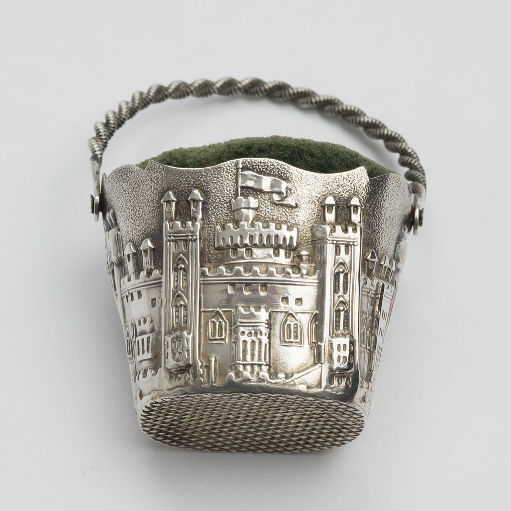 An Early 19th Century Silver Pincushion With A View Of Windsor Castle.