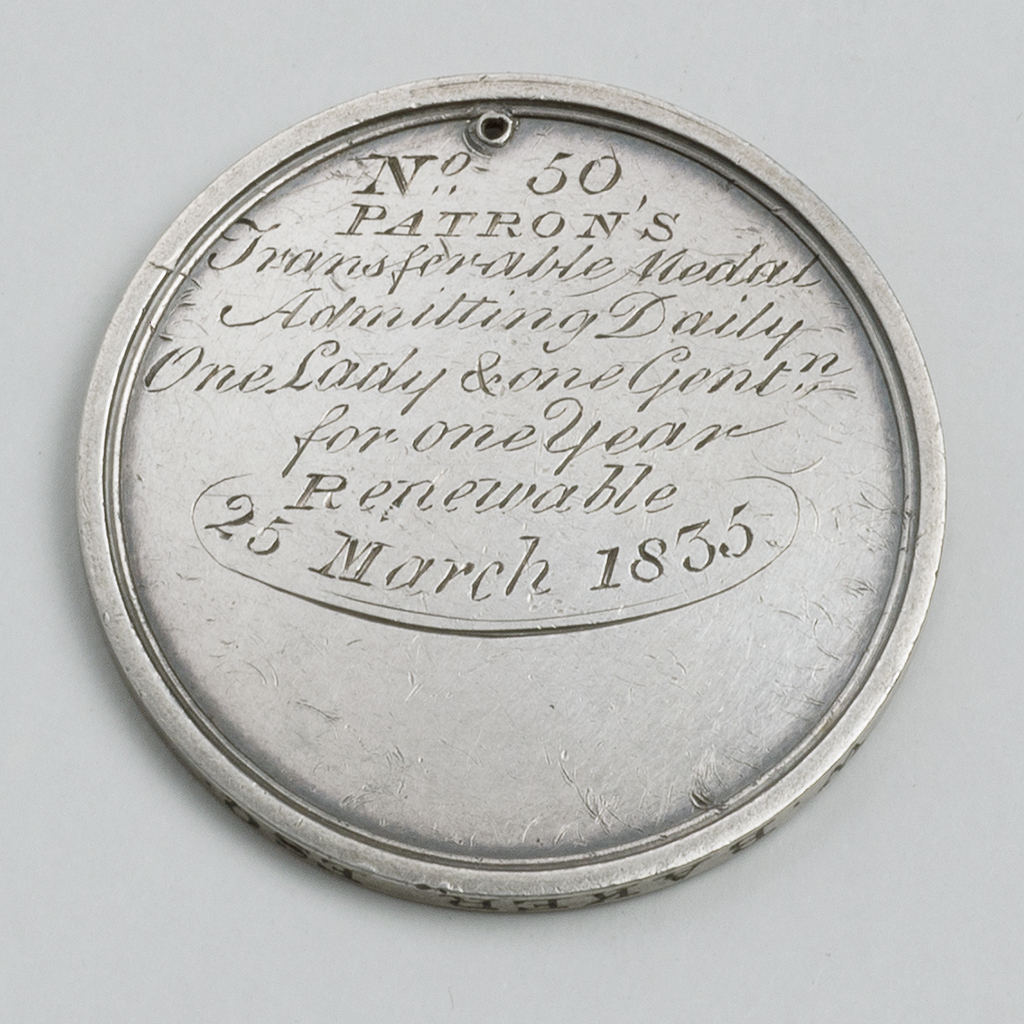 A William IV Silver Ticket For The Stadium At Cremorne House, Chelsea.