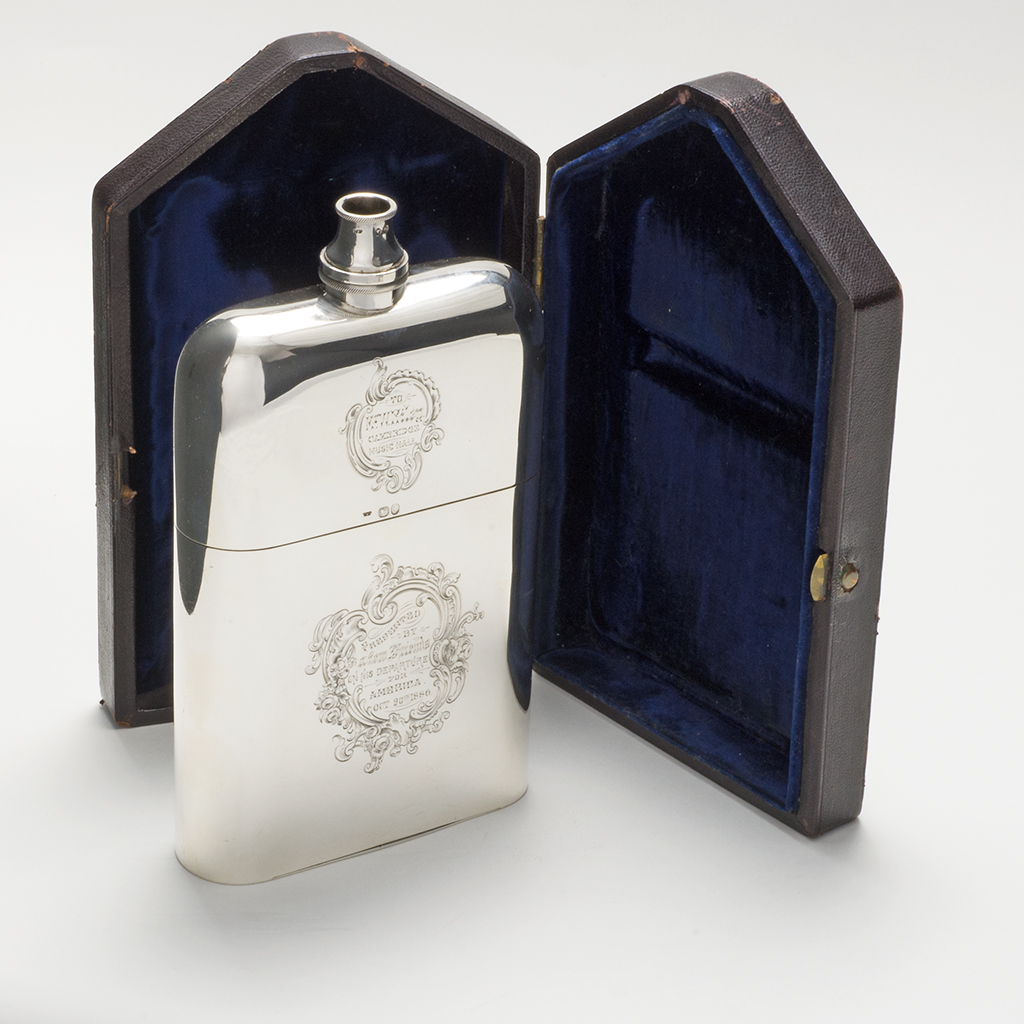 An Early Victorian Silver Combination Flask, Vesta Case And Cigar Case.