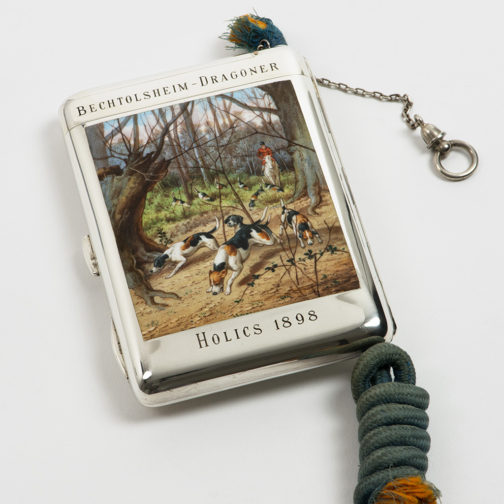 A Late 19th Century Viennese Silver And Enamel Cigarette And Match Case.
