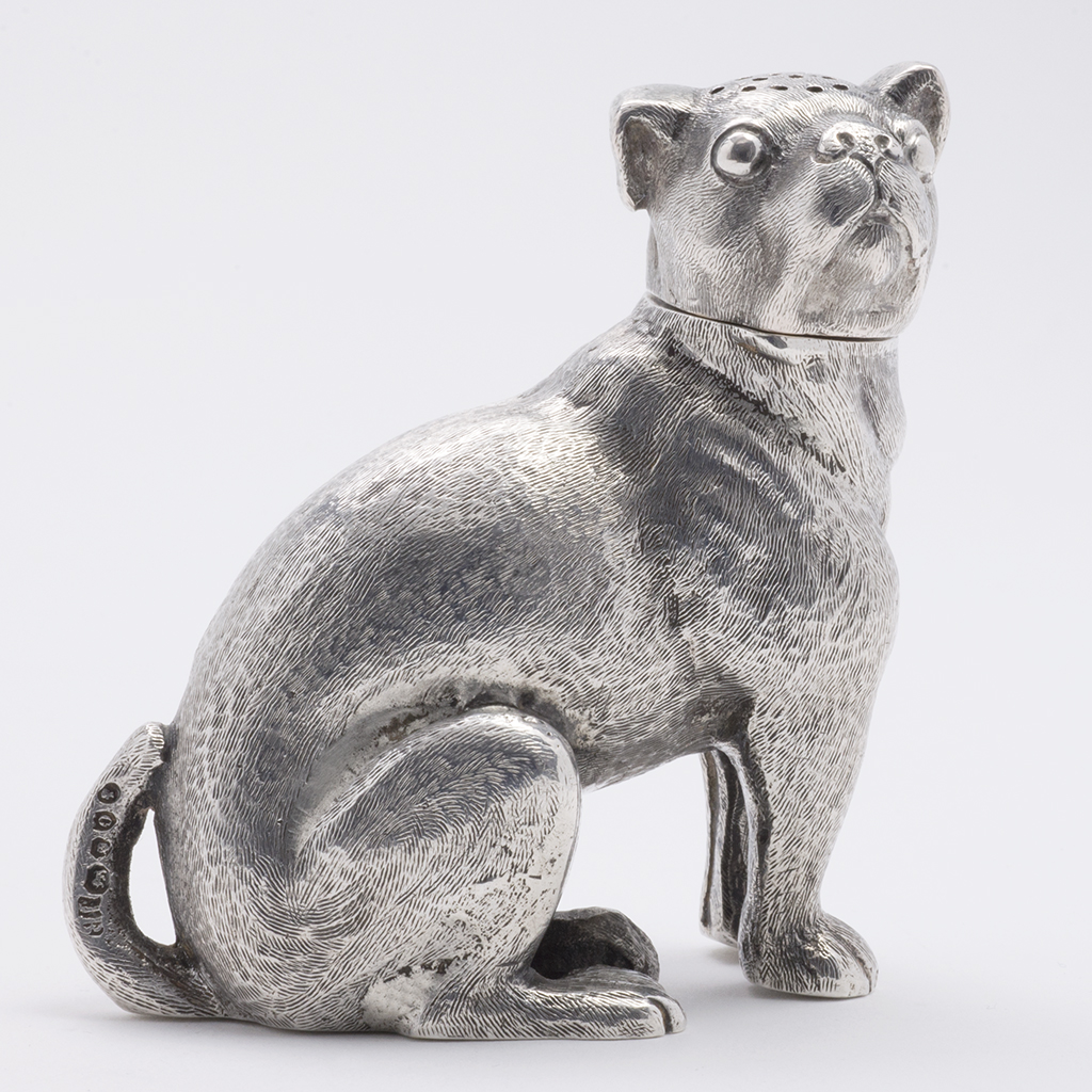 A Victorian Silver Novelty Pepper Pot As A Seated Cat.