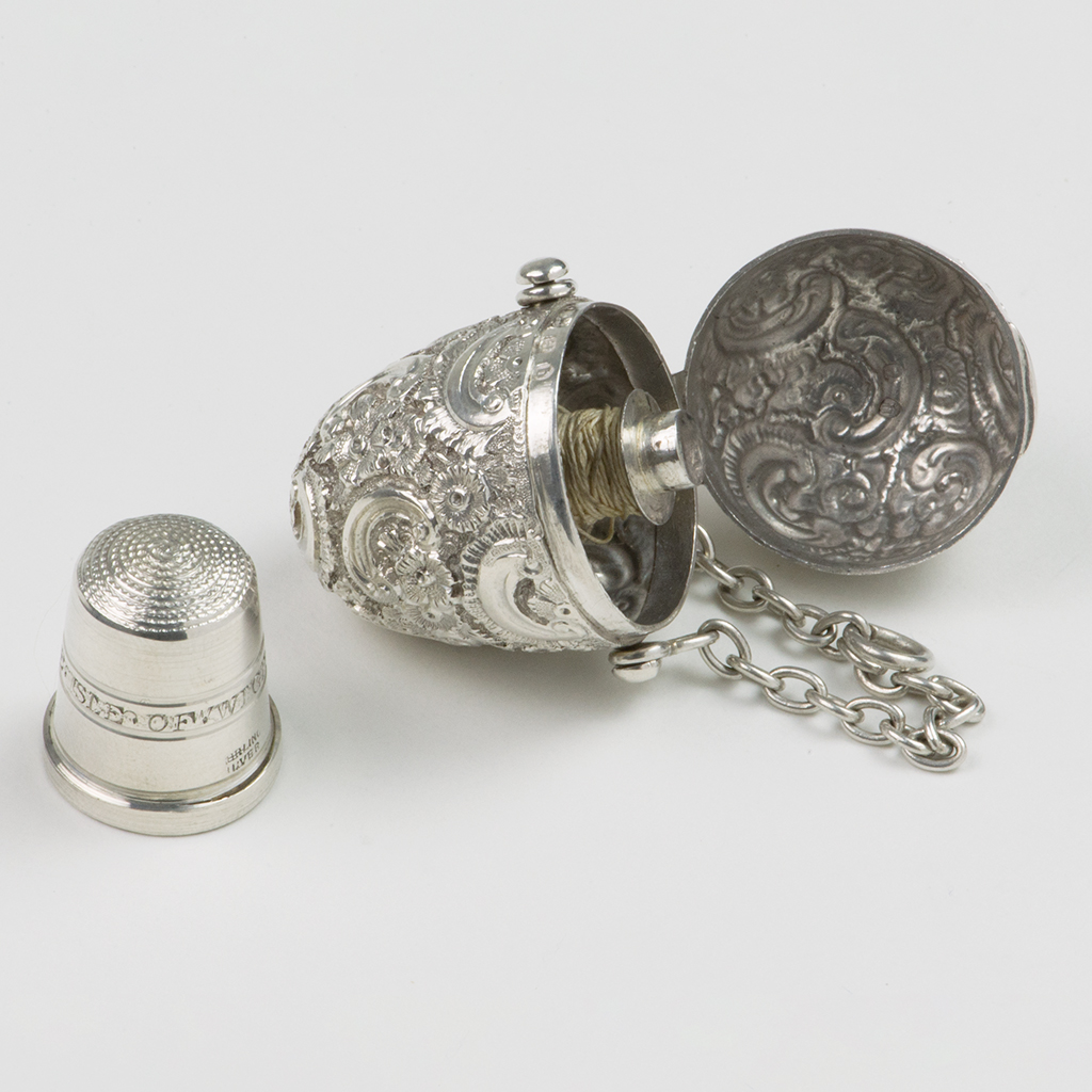 A Victorian Silver Sewing Egg.