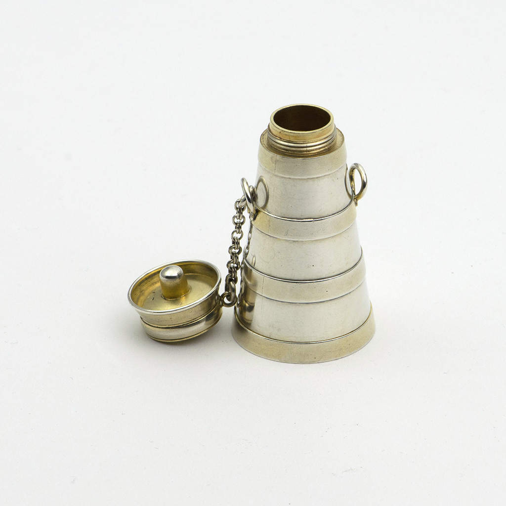 A Victorian Novelty Parcel-gilt Silver Scent Bottle And Viniagrette Formed As A Milk Churn.