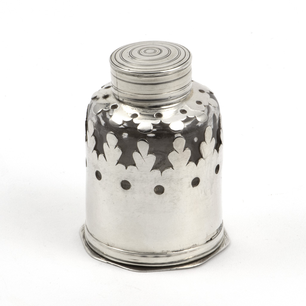 An 18th Century Silver-mounted Travelling Inkwell And Pounce Pot.