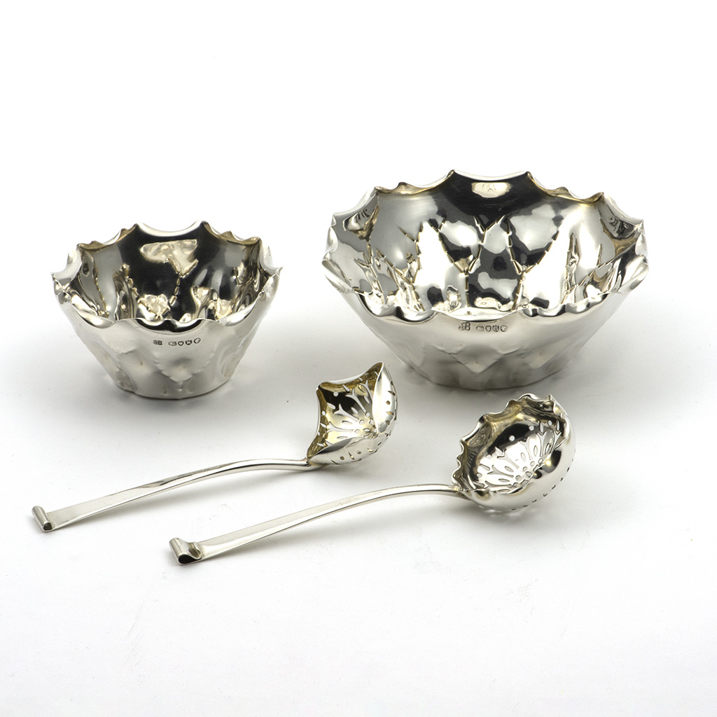 Two Small Victorian Silver Bowls And Two Sifting Spoons, Hukin And Heath.