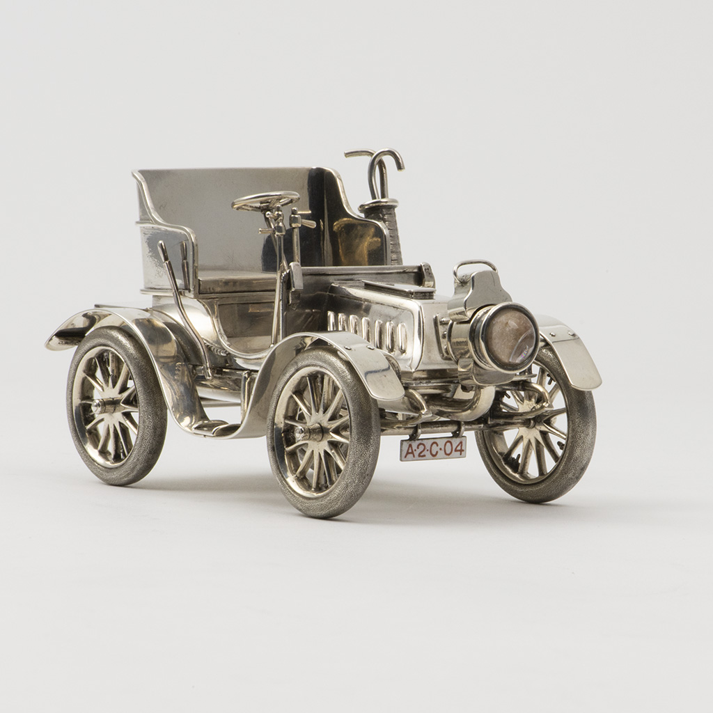 An Edwardian Novelty Silver De Dion- Bouton Motor Car Table Lighter And Box.