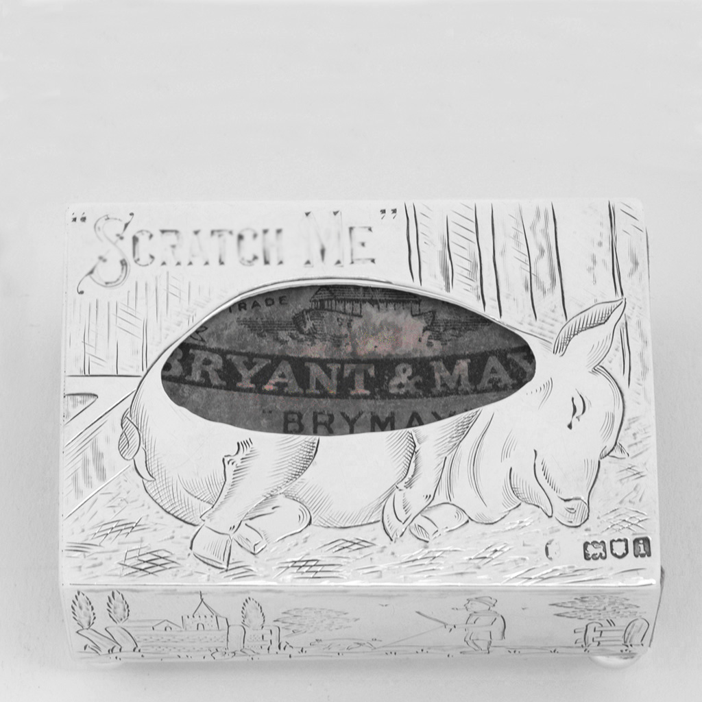 An Edwardian Novelty Silver Matchbox Holder For A Pig Lover.