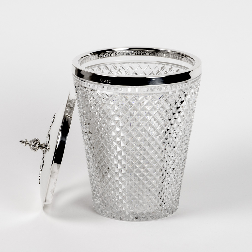 A Silver Mounted Ice Bucket By Asprey And Company.