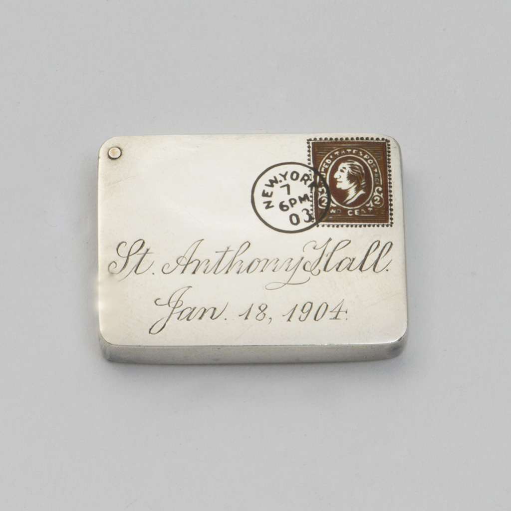 An American Silver Novelty Stamp Case.