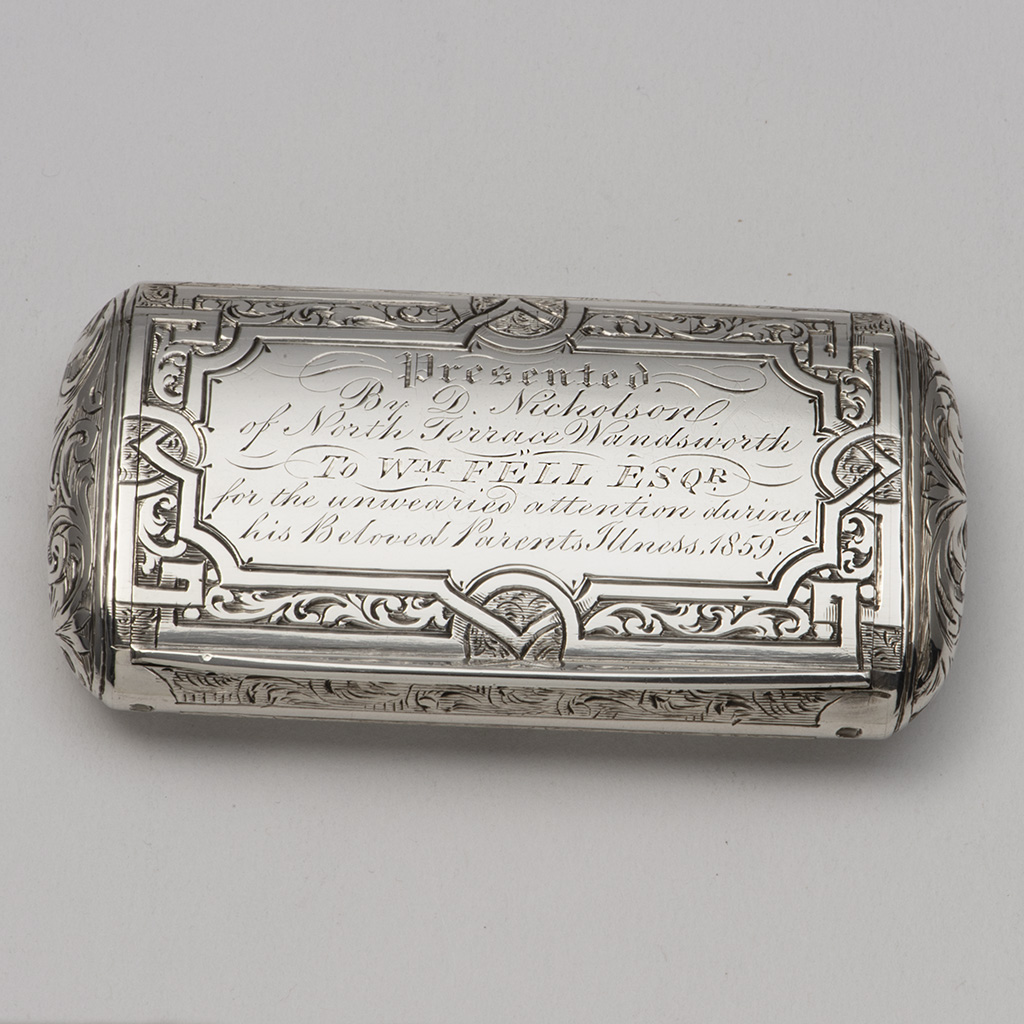 A Good Victorian Silver Cushion-shaped Snuffbox.