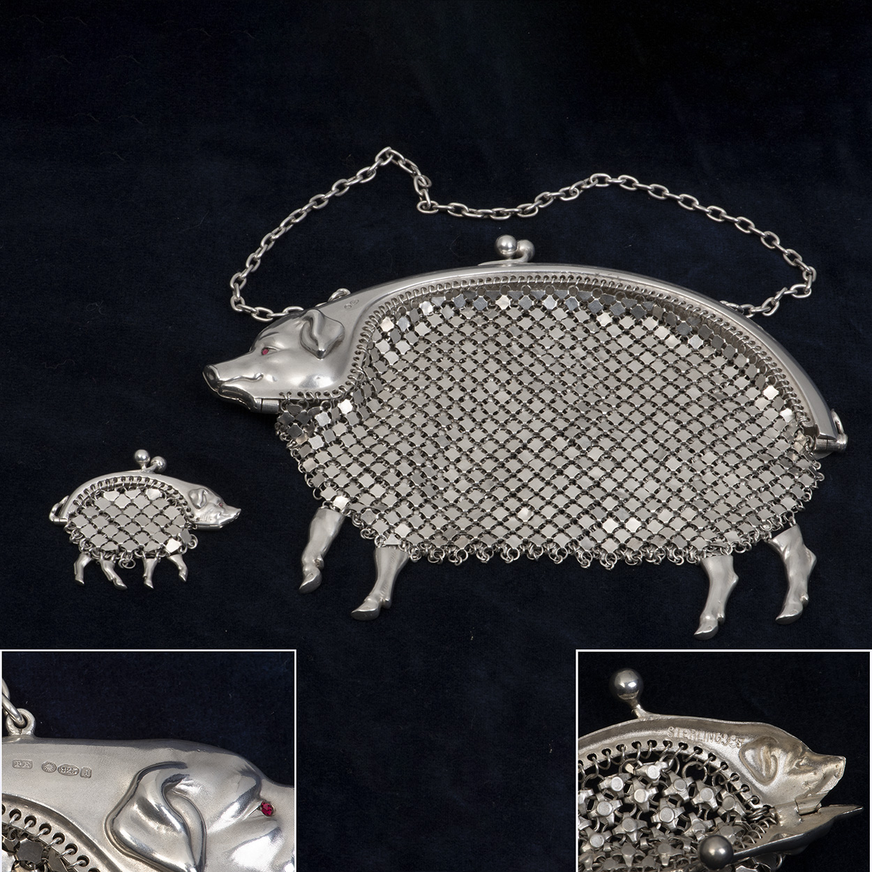 A Charming Pair Of Edwardian Silver Purses Formed As Pigs.