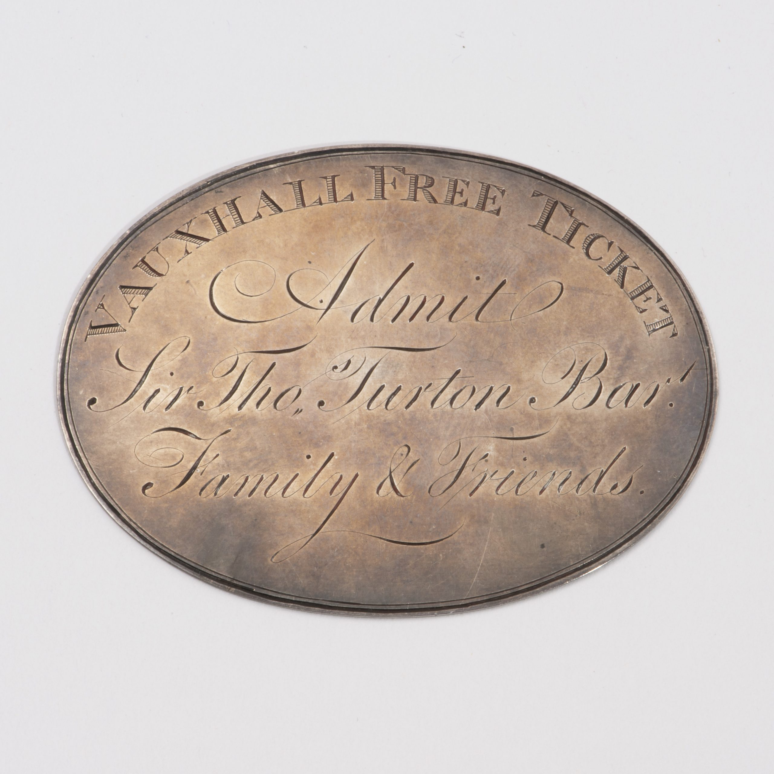 A George III Silver Ticket For The Vauxhall Pleasure Gardens.