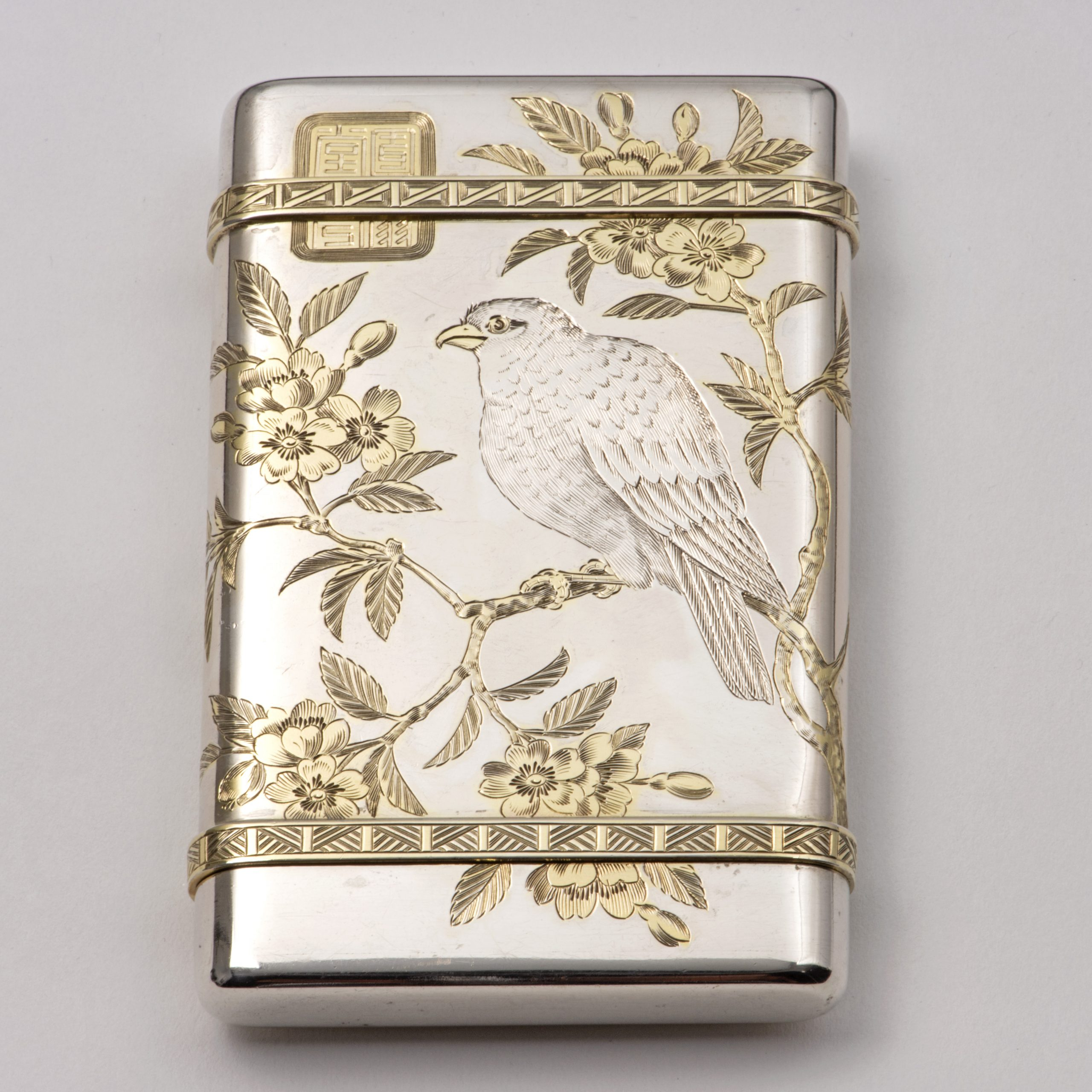 A Good Parcel-gilt Silver Victorian Cheroot Case And Vesta In The Aesthetic Style.