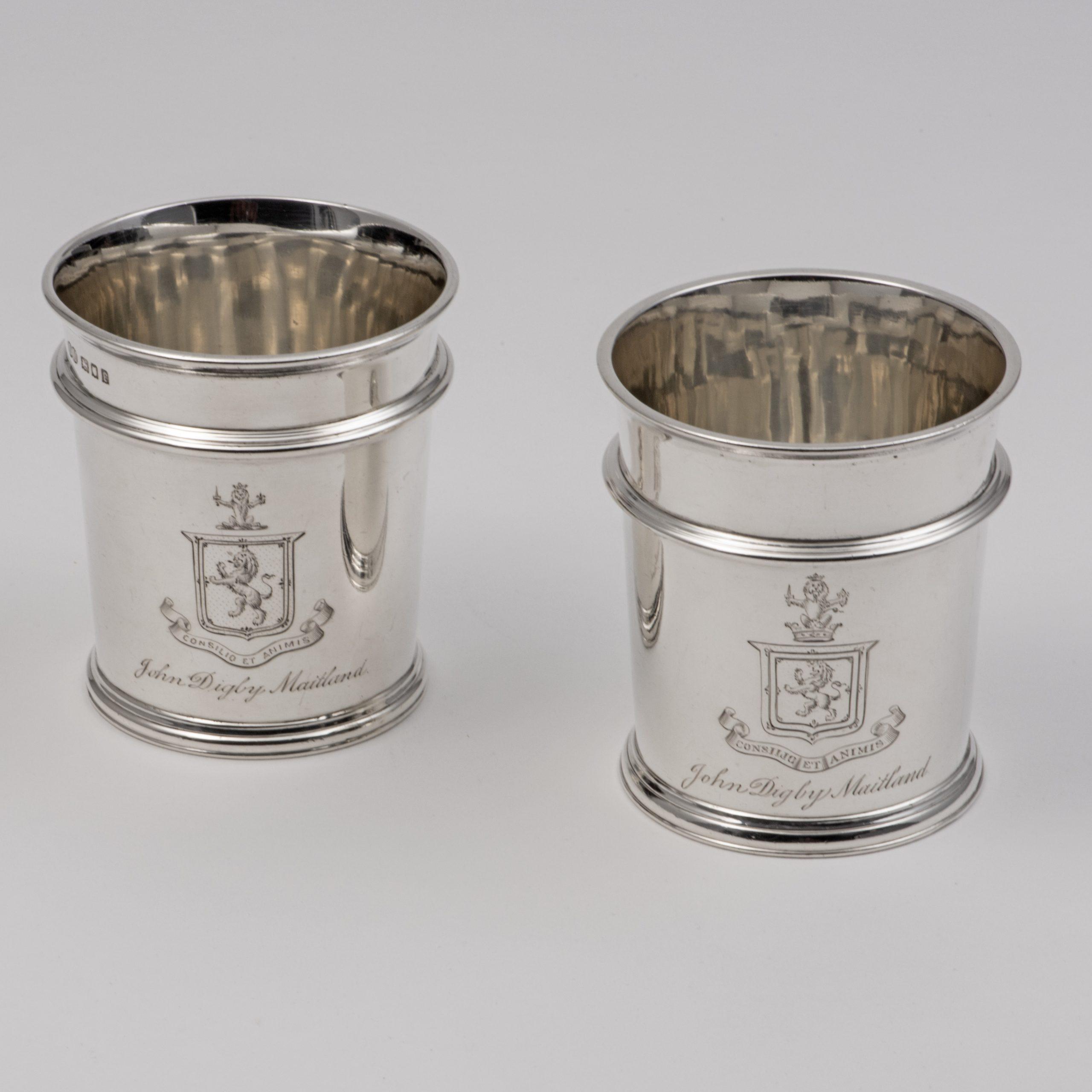 Two Plain Silver Beakers.