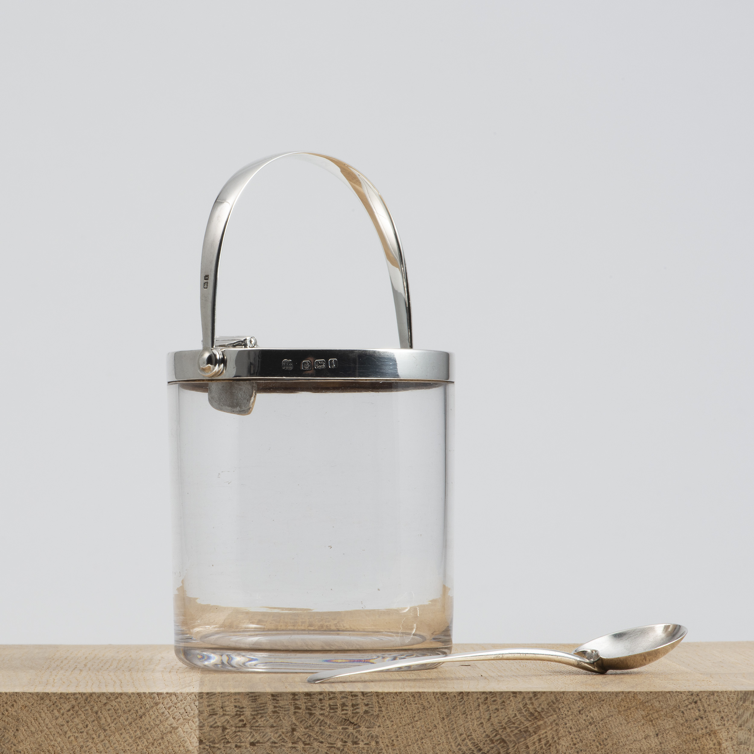 A Hukin And Heath Silver-mounted Glass Jar With Patent Lid.