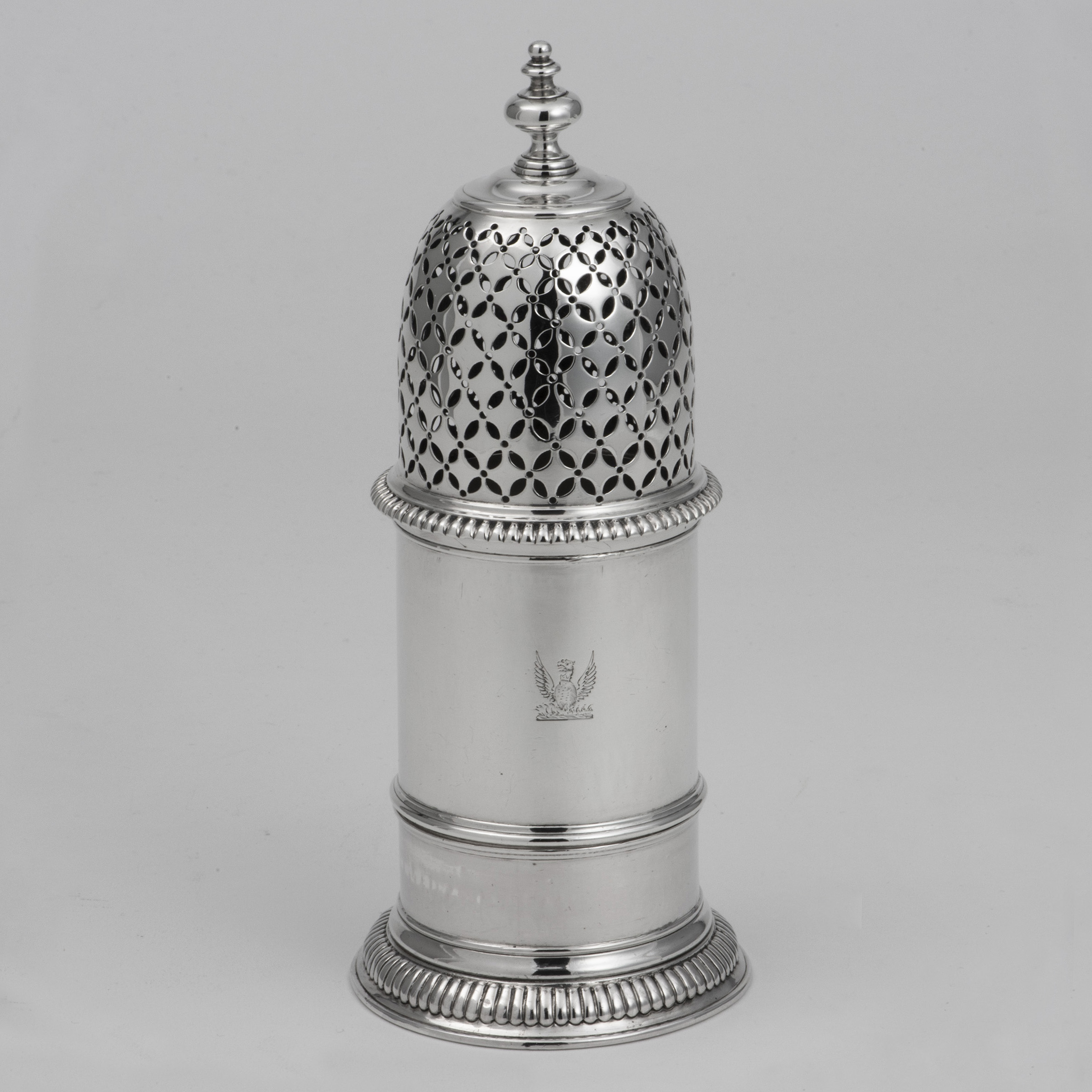 A Large Victorian Silver Caster In The Early 18th Century Style.