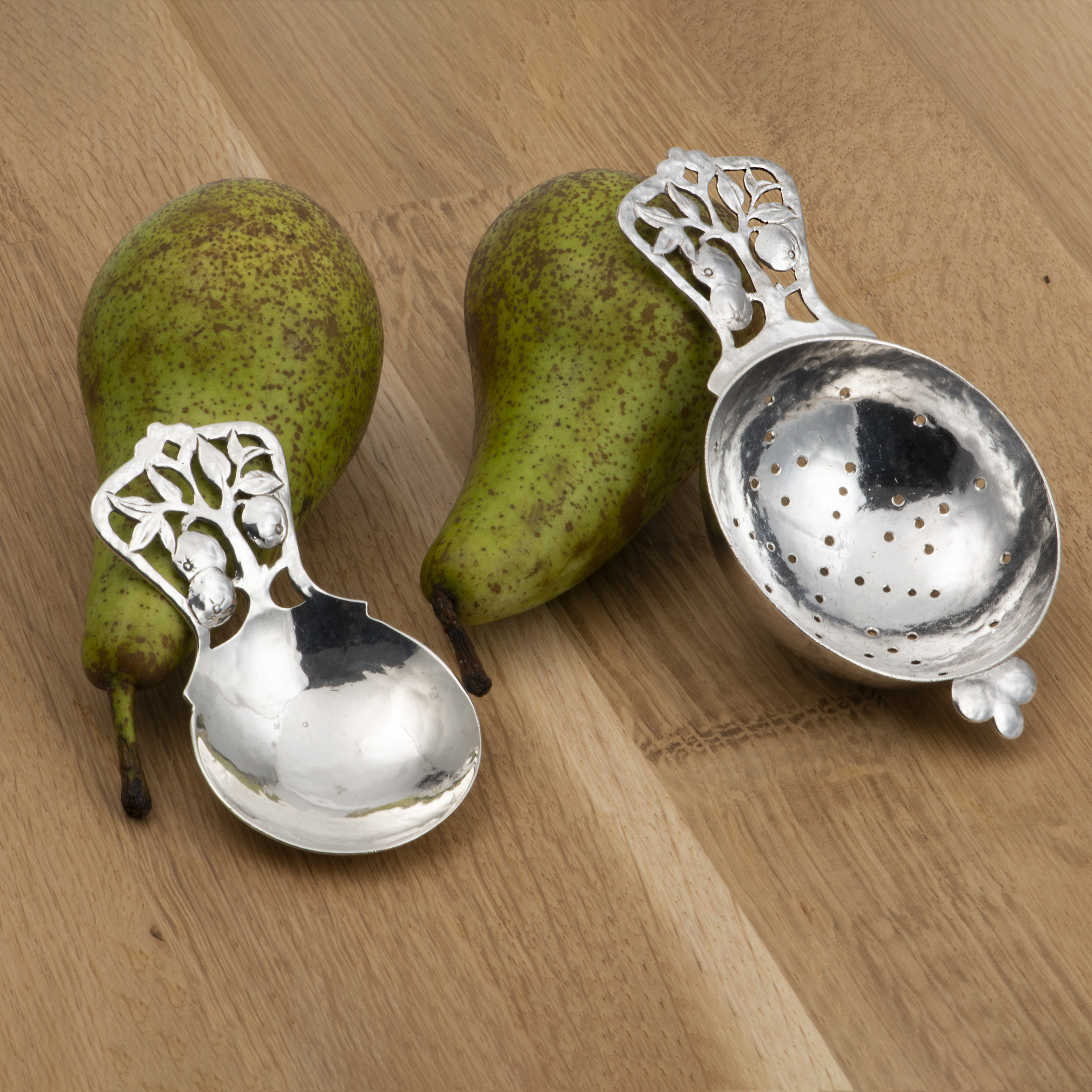 A Caddy Spoon And Tea Strainer By Bernard Instone. Ideal For Fruit Tea.
