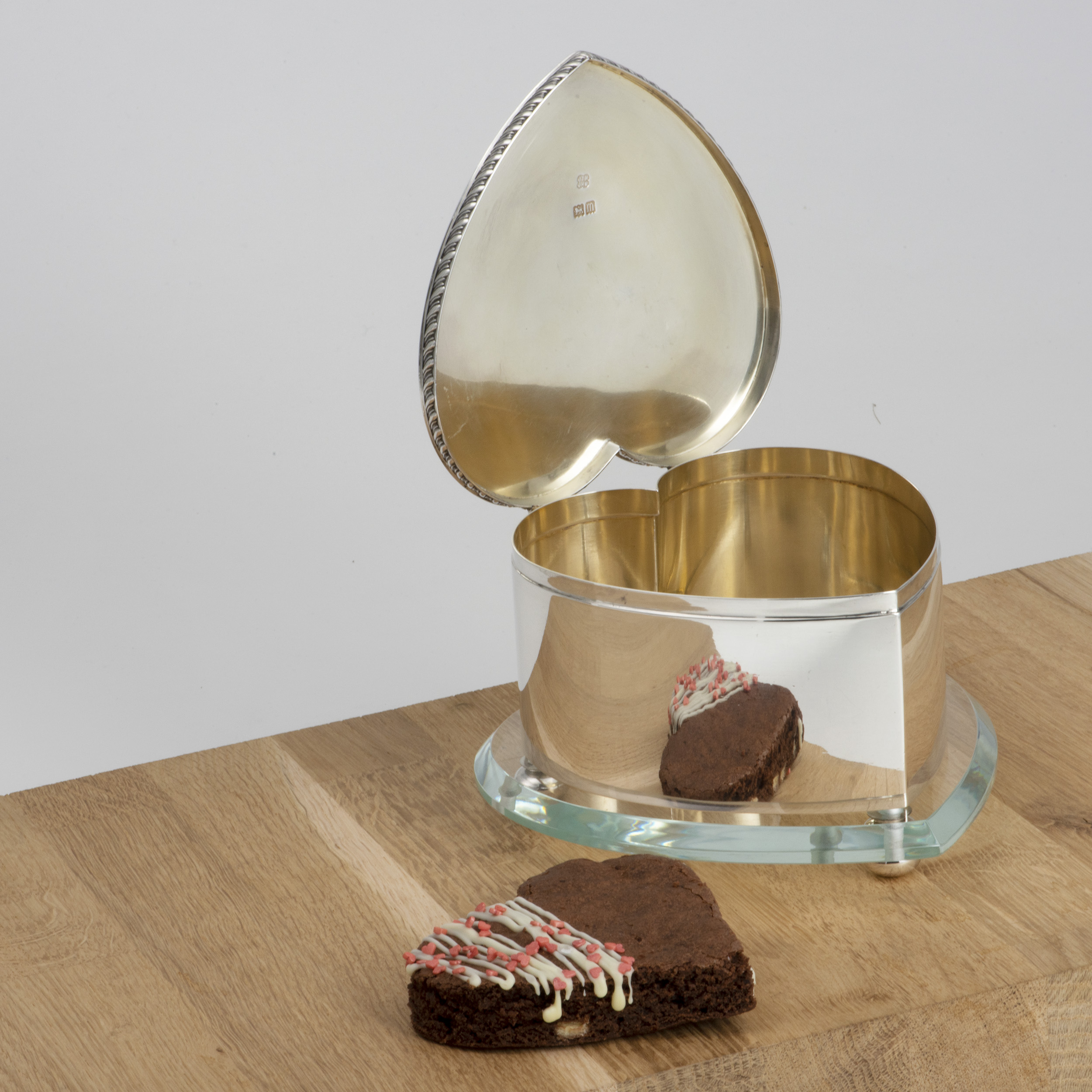 A Novelty Edwardian Heart-shaped Biscuit Box By Hukin And Heath.