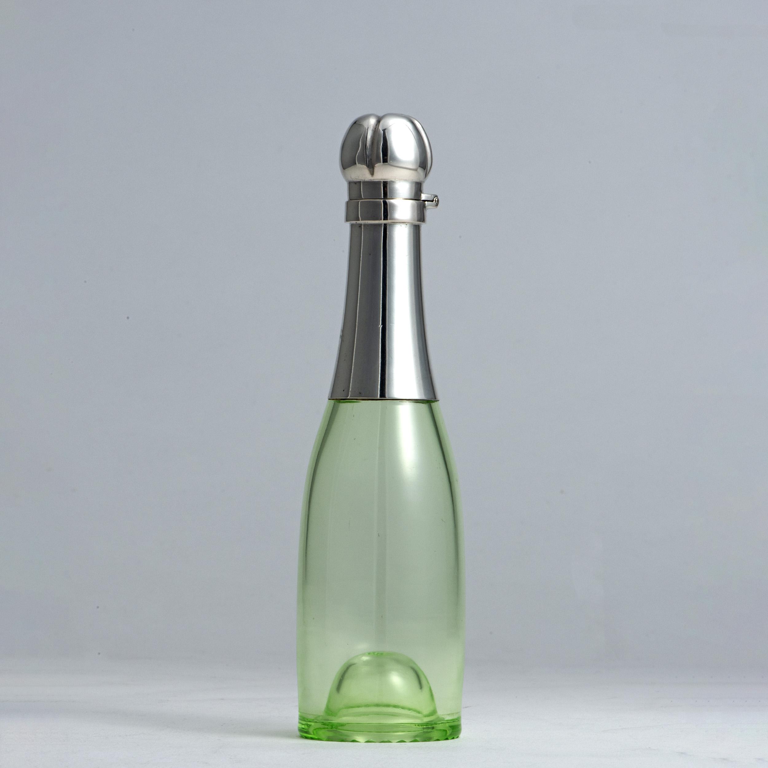 An Antique Austrian Silver Mounted Champagne Bottle For Liqueurs.