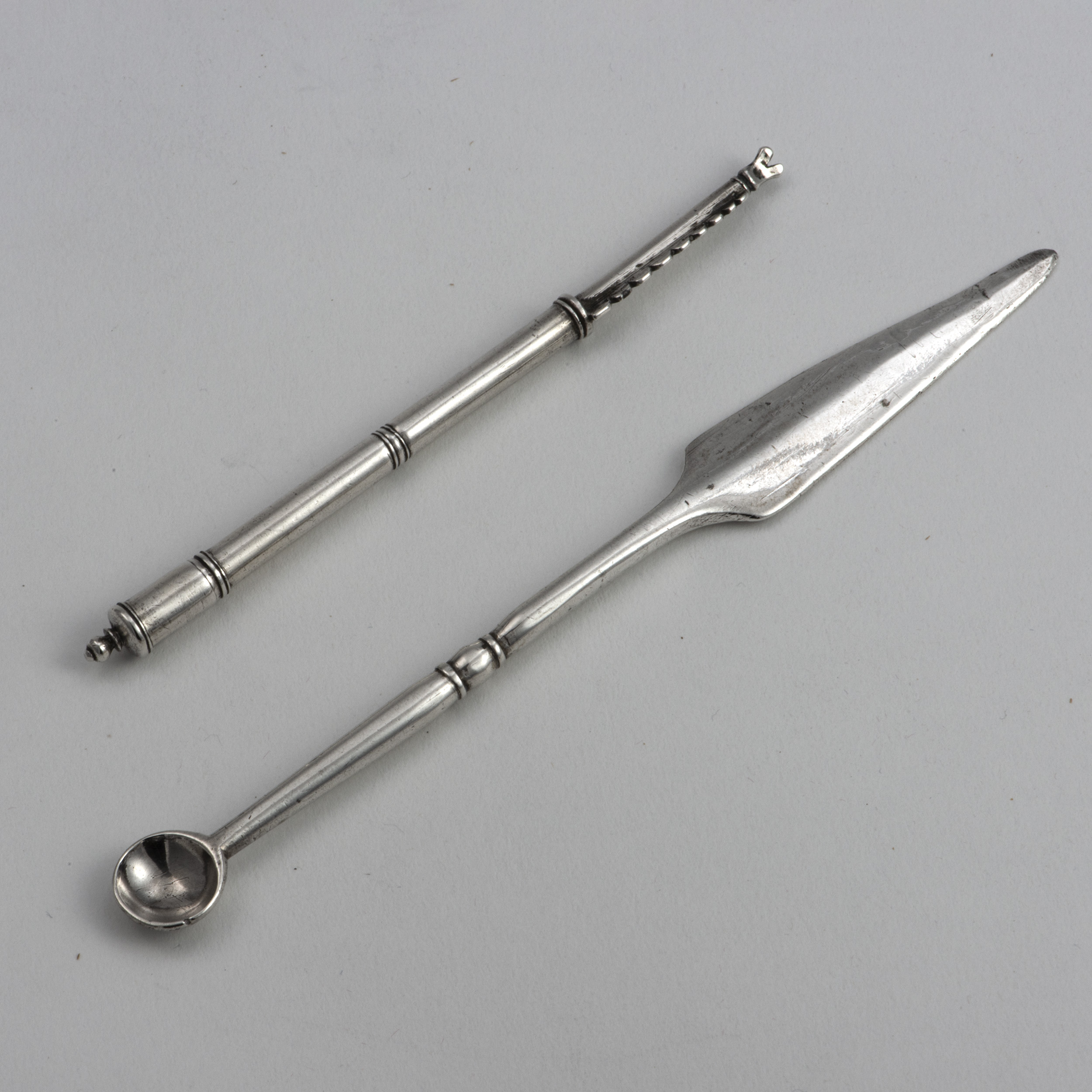 Two Early 18th Century Unmarked Silver Medical Implements.