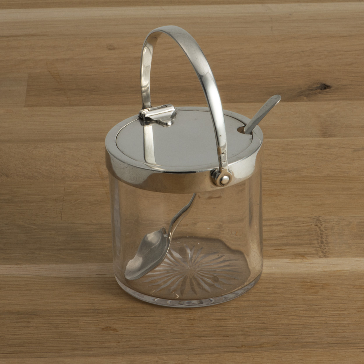 A Silver Mounted Glass Preserve Jar By Hukin And Heath.