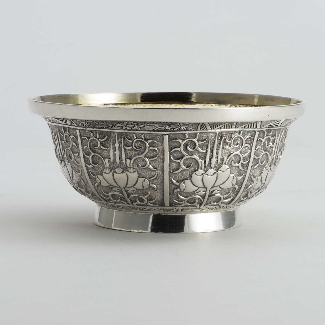 A Victorian Silver Scottish Bowl In The Persian Manner.