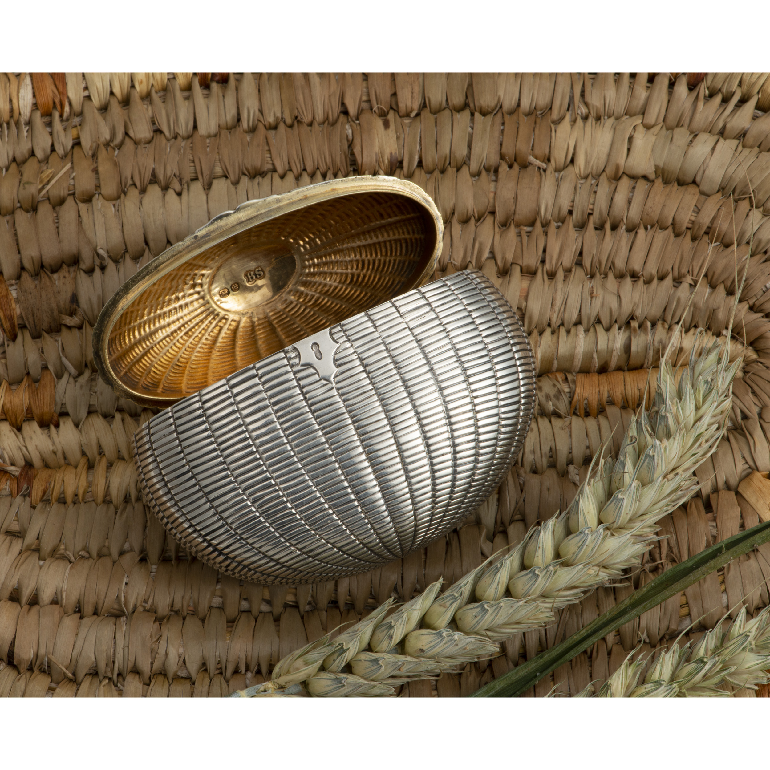 An Early Victorian Silver Snuffbox In The Form Of A Wicker Basket.